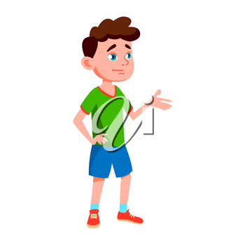 Boy Schoolboy Kid Poses Vector. Primary School Child. Cheerful Pupil. Friends. Life, Emotional. For Banner, Flyer, Web Design. Isolated Cartoon Illustration