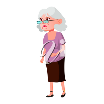 Old Woman Poses Vector. Elderly People. Senior Person. Aged. Beautiful Retiree. Life. Presentation, Print, Invitation Design. Isolated Cartoon Illustration