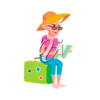 Old Woman Poses Vector. Elderly People. Senior Person. Aged. Tourist, Tourism. Positive Pensioner. Web, Brochure, Poster Design. Isolated Cartoon Illustration