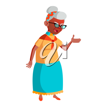 Old Woman Poses Vector. Black. Afro American. Elderly People. Senior Person. Aged. Caucasian Retiree. Smile. Advertisement, Greeting, Announcement Design. Isolated Cartoon Illustration