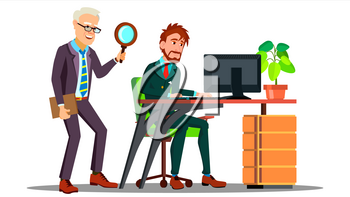 Business Espionage, Employee Holding Magnifier Standing Behind Employee At Desktop With Computer Vector. Illustration