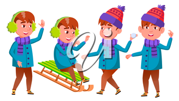 Boy Set Vector. Happy Childhood. Winter Holidays. For Web, Poster, Booklet Design Isolated Illustration