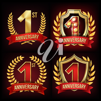 1 Year Anniversary Banner Vector. One, First Celebration. Shining Gold Sign. Number One. Laurel Wreath. Red Ribbon. For Business Event Design. Illustration