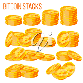 Bitcoin Stacks Set Vector. Crypto Currency. Virtual Money. Gold Coins Stack. Business Crypto Currency. Trading Design. Isolated Flat Cartoon Illustration