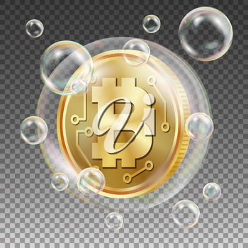 Bitcoin In Soap Bubble Vector. Investment Risk. Collapse Of Crypto Currency. Bitcoin Price Drops. Digital Money. Realistic Isolated Illustration