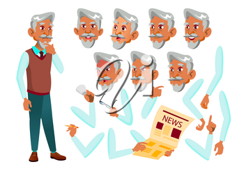 Arab, Muslim Old Man Vector. Senior Person. Aged, Elderly People. Face Emotions, Various Gestures. Animation Creation Set. Isolated Cartoon Illustration