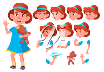 Girl, Child, Kid, Teen Vector. Casual Clothes. Positive. Face Emotions, Various Gestures. Animation Creation Set Isolated Flat Cartoon Character Illustration