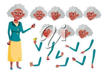 Old Woman Vector. Black. Afro american. Senior Person. Aged, Elderly People. Fun, Cheerful. Face Emotions, Various Gestures Animation Creation Set Isolated Cartoon Character Illustration