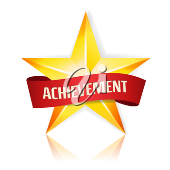 Achievement Vector Star With Red Ribbon. Yellow Sign With Place For Text. Golden Decoration Symbol. 3d Shine Icon Isolated On White
