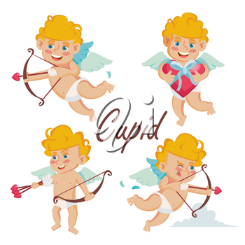 Cupid Set Vector. Cupids Bow. Cupid In Different Poses. Happy Valentine s Day. Element For Graphic Design. Isolated Cartoon Character Illustration
