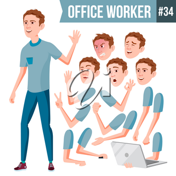 Office Worker Vector. Face Emotions, Various Gestures. Animation. Businessman Human. Modern Cabinet Employee, Workman, Laborer. Isolated Flat Cartoon Character Illustration