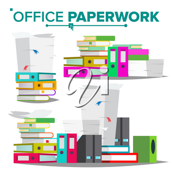 Stack Of Papers, File Folders Vector. Cluttered Documentation. Accounting Bureaucracy. Illustration
