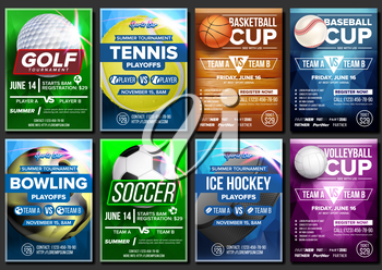 Sport Poster Set Vector. Basketball, Tennis, Soccer, Football, Golf, Baseball, Ice Hockey, Bowling. Vertical Design For Sport Bar Promotion. Tournament Flyer Club Banner Blank Invitation Illustration