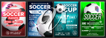 Soccer Game Poster Vector. Modern Tournament. Design For Sport Bar, Pub Promotion. Football Ball. Soccer Competition League Flyer Template. Layout Business Advertising Illustration