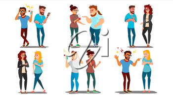 Quarrel People Set Vector. Concept Office Workers, Wife Husband Relationship Characters. Conflict. Disagreements. Negative Emotions. Quarreling People. Angry Colleagues. Shouting. Illustration