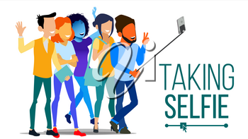 Taking Selfie Vector. Men, Women Laughing. Photo Portrait Concept. Self Camera. Youth Concept. Modern Isolated People Illustration