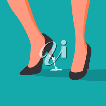 Business Trouble Stuck Vector. Feet. Business Woman Shoe With Chewing Gum. Wrong Step, Decision. Illustration