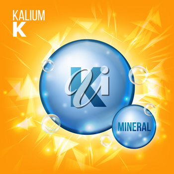 K Kalium Vector. Mineral Blue Pill Icon. Vitamin Capsule Pill Icon. Substance For Beauty, Cosmetic, Heath Promo Ads Design. Mineral Complex With Chemical Formula. Illustration