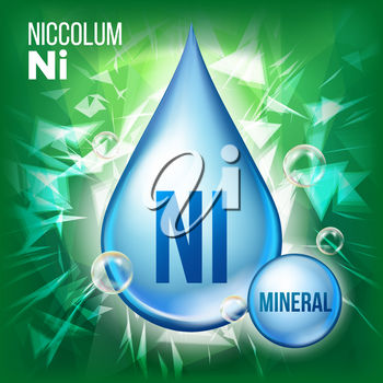 Ni Niccolum Vector. Mineral Blue Drop Icon. Vitamin Liquid Droplet Icon. Substance For Beauty, Cosmetic, Heath Promo Ads Design. 3D Mineral Complex Chemical Formula. Illustration