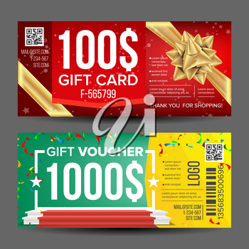 Gift Voucher Vector. Horizontal Coupon. Design Concept For Gift Coupon. Shopping Advertisement. Business Gift Illustration