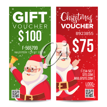 Voucher Coupon Template Vector. Vertical Leaflet Offer. Merry Christmas. Happy New Year. Santa Claus And Gifts. Promotion Advertisement. Free Gift Illustration