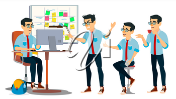 Business Man Character Vector. Working Asian Man. Asiatic. Environment Process Creative Studio. Web Developer Programming. Poses. Flat Cartoon Business Illustration