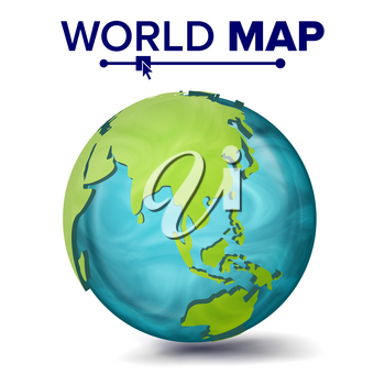 World Map Vector. 3d Planet Sphere. Earth With Continents. Asia, Australia, Oceania Africa Illustration