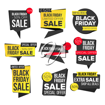 Black Friday Sale Banner Set Vector. Discount Banners. Friday Sale Banner Tag. Black Price Tag Labels. Isolated Illustration