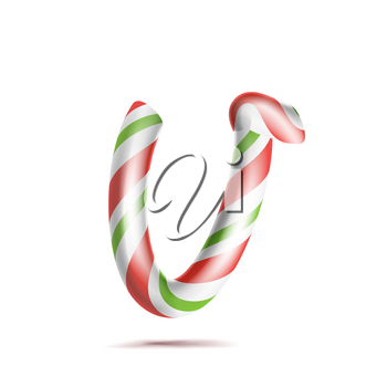 Letter V Vector. 3D Realistic Candy Cane Alphabet Symbol In Christmas Colours. New Year Letter Textured With Red, White. Typography Template. Striped Craft Isolated Object. Xmas Art