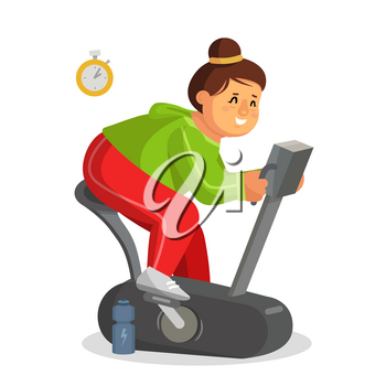 Fat Woman Training Vector. Lose Weight. Fat Woman Dieting, Fitness. Get Rid Of Fat Belly. Flat Cartoon Illustration