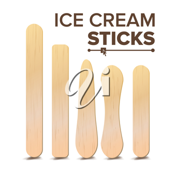 Ice Cream Sticks Set Vector. Different Types. Wooden Stick For Ice cream, Medical Tongue Depressor. Isolated