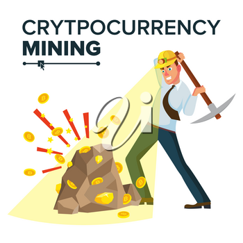 Miner Businessman Vector. Cryptocurrency And Electronic Money. Digging To Get Virtual Coins. Flat Cartoon Illustration