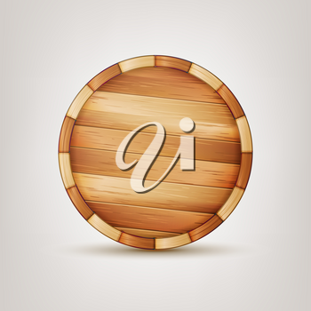 Barrel Wooden Sign Vector. 3d Icon Set Isolated On White