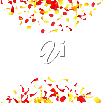 Confetti Falling Vector. Bright Explosion Isolated On White. Background For Birthday, Party, Holiday Decoration.