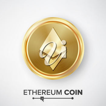 Ethereum Coin Gold Coin Vector. Realistic Crypto Currency Money And Finance Sign Illustration. Etherum Coin Digital Currency Counter Icon. Fintech Blockchain.