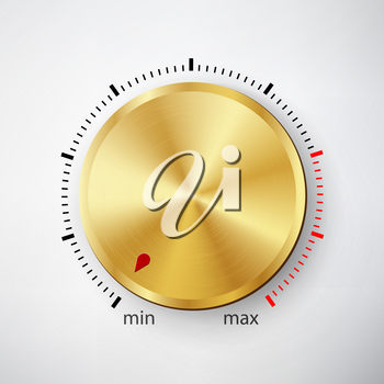 Dial Knob Vector. Global Swatches. Realistic Metal Button With Circular Processing
