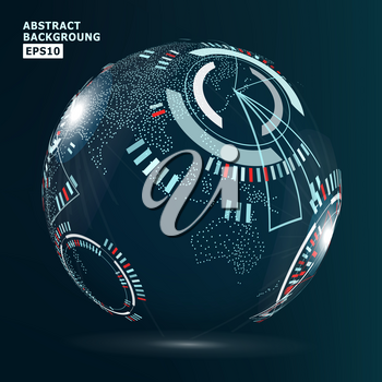 Futuristic Globalization Interface. Vector Abstract Hi-tech Background.