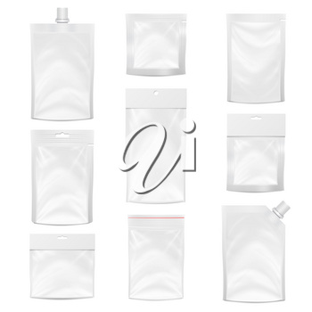 Plastic Polyethylene Pocket Bag Set Vector Blank. Realistic Mock Up Template Of Plastic Pocket Bag With Zipper, Zip lock. Clean Hang Slot, Pouch Packaging. Isolated Illustration