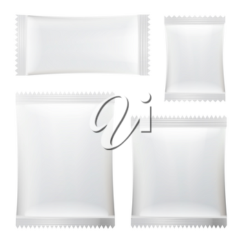 Sachet Vector Set. White Clean Blank Of Stick Sachet Packaging. Package Mock-up Plastic Pouch Snack Pack For Your Design. Disposable Packaging For Snacks, Food, Sugar. Isolated Illustration