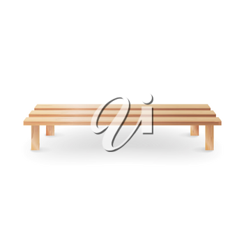 Wooden Bench Realistic Vector Illustration. Single Wooden Park Bench