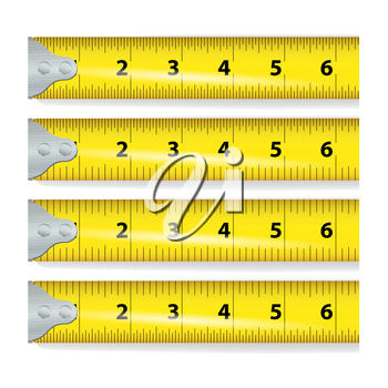 Yellow Measure Tape Vector. Centimeter And Inch. Measure Tool Equipment Isolated On White Background. Several Variants, Proportional Scaled.
