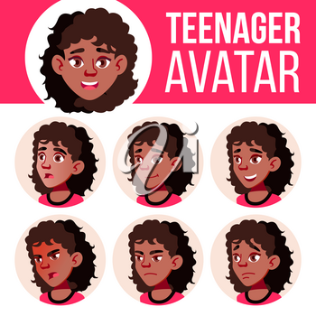 Teen Girl Avatar Set Vector. Black. Afro American. Face Emotions. Children, Young People. Life, Emotional Head Illustration