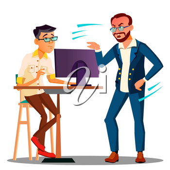 Shouting Head Of Chief From The Computer On Frightened Employee Vector. Illustration