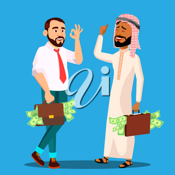 Successful Businessman With Briefcase Full Of Money In Hands, Arab, European Vector. Illustration