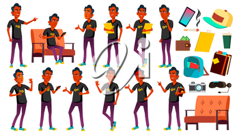 Teen Boy Poses Set Vector. Indian, Hindu. Asian. Beauty, Lifestyle. For Web, Poster Booklet Design Isolated Cartoon Illustration