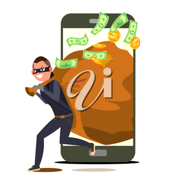 Thief And Smartphone Vector. Bandit With Bag. Insurance Concept. Burglar, Robber In Mask. Crack User Personal Information. Fishing Attack To Smartphone. Isolated Cartoon Illustration