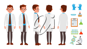 Scientist Character Vector. Friendly Funny Professor. Chemistry Laboratory Specialists. Isolated Flat Cartoon Illustration