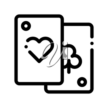 Game Element Cards Vector Thin Line Sign Icon. Detail Of Table Or Adult Gamble Game Pocker, Playing Gaming Items Figure Pieces Linear Pictogram. Joyful Things Monochrome Contour Illustration