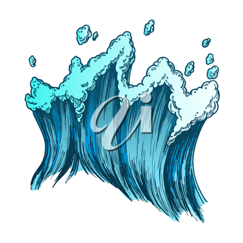 Rushing Tropical Sea Marine Wave With Drop Vector. Tall Foamy Marine Purl Wind Storm Tide Surf Water. Motion Nature Aquatic Tsunami Power Color Hand Drawn Illustration