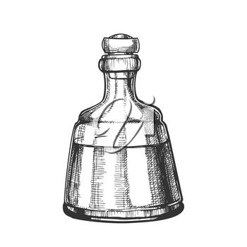 Decorative Crystal Carafe Tequila Drink Vector. Mexican Alcoholic Beverage In Elegance Closed Glass Bottle. Monochrome Mockup Liquid Package For Celebrative Table. Cartoon Illustration